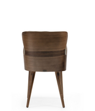 Chair, wingback style with wraparound wood veneer. Back view.
