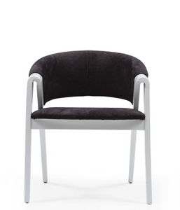 Modern tub chair. Dramatic A-frame sides painted white with black fabric back and seat. Front view.