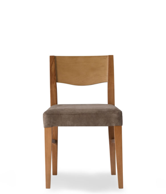 Wood straight backed chair with taupe fabric covered seat. Front view.
