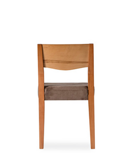 Wood straight backed chair with taupe fabric covered seat. Back view.