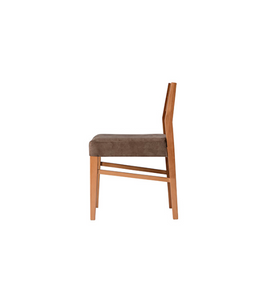 Wood straight backed chair with taupe fabric covered seat. Side view.