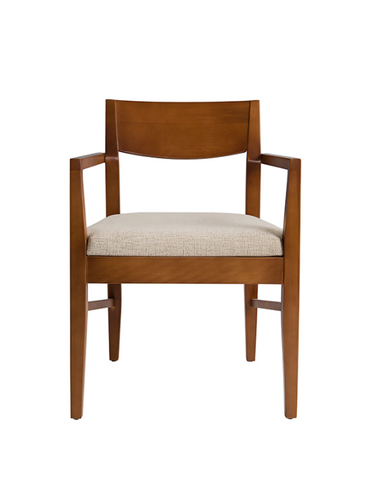 Wood, straight backed armchair with taupe fabric covered seat. Front view.
