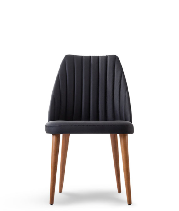 Black dining chair with spade shaped back and vertical seam details. Front view