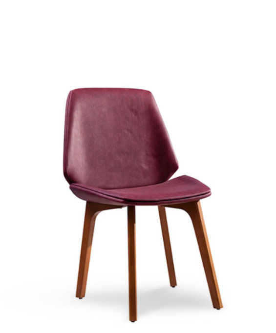 Wine coloured bucket dining chair.