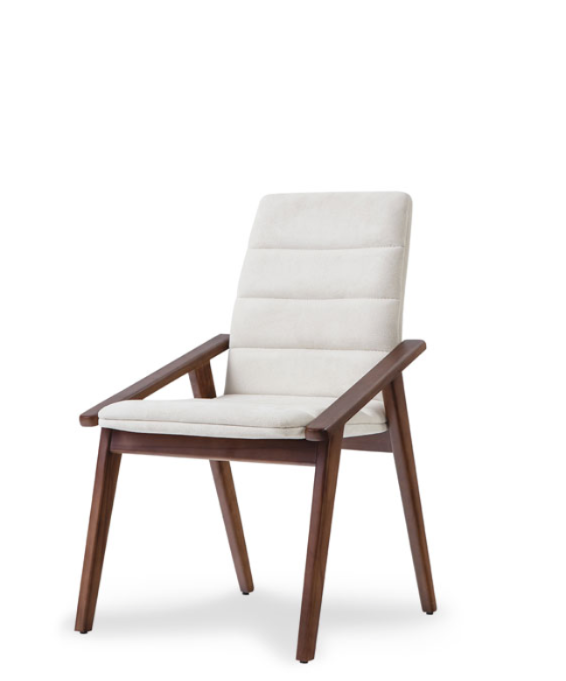 Architectural white leather upholstered armchair. With slanted arms and solid dark wood frame. 3/4 front view.