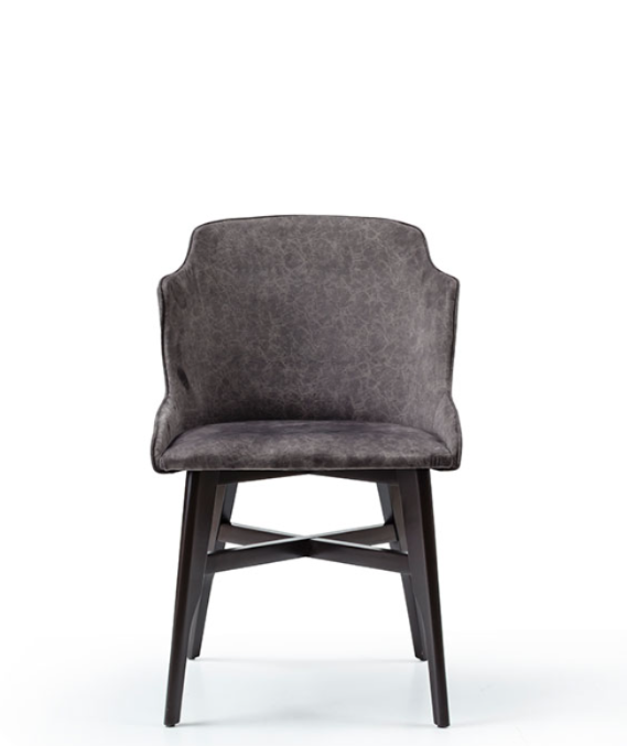 wrap around tub chair with grey fabric seat and black wood legs with decorative crossbar. Front view.