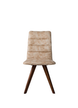 Taupe fabric covered dining chair with angled wood legs. Chair back curves back slightly. Front view.