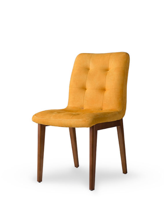 Yellow dining chair with thick tufted upholstery. Front 3/4 view.