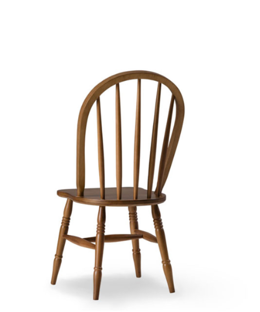 Traditional dining chair. Wood spindles and horseshoe shaped back. Back 3/4 view.