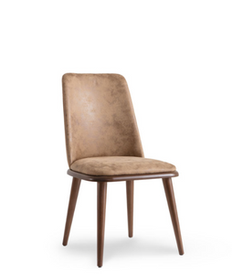 Taupe upholstered dining chair with wood legs and seat trim. Front 3/4 view.