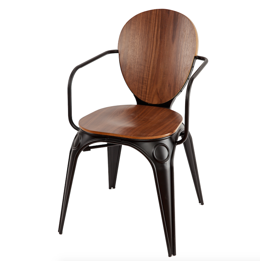 Bistro style armchair, black painted metal frame with brown wood veneer seat and back. Front 3/4 view.