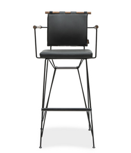 Modern directors chair style bar stool with metal frame and architectural cross bar. Front view.