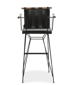 Modern directors chair style bar stool with metal frame, strapping on back and architectural cross bar. Back view.