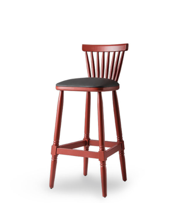 Red wood barstool with black leather seat, foot rests and spindle back. Front 3/4 view.