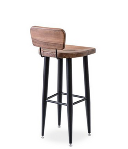 Tall rustic look bar stool with black painted legs and natural wood grain seat and half back. Back 3/4 view.