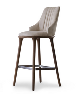 Fabic covered bar stool with vertical seam details in the squared chair back. 3/4 view.