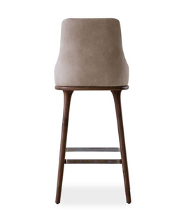 Fabic covered bar stool with vertical seam details in the squared chair back. Back view.