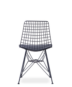 Wire constructed bucket chair with leather seat pad. Back view.