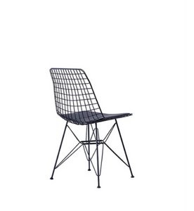 Wire constructed bucket chair with leather seat pad. Back 3/4 view.