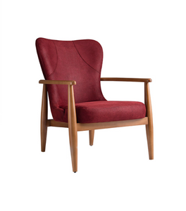 Low, red armchair. Wood frame and legs with a streamlined wingback shape. Front 3/4 view.