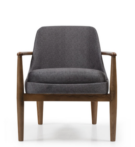 Low armchair with thick grey upholstery and a turned dark wood frame. Front view.