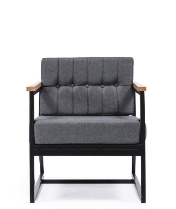 Architectural armchair with black metal frame. Thick grey cushions and wood arms. Front view.