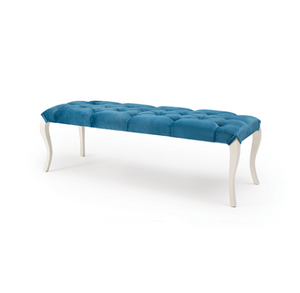 Blue backless bench, blue tufted seat and ornate curved legs made from painted wood.