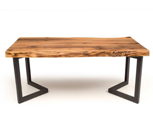Inverted chevron frame table base, in use with table top. Front view.