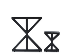Triangle hourglass geometric table base suite, height comparison