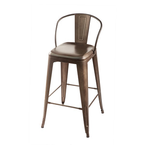 Metal bar stool with short horseshoe shaped back. Front 3/4 view.