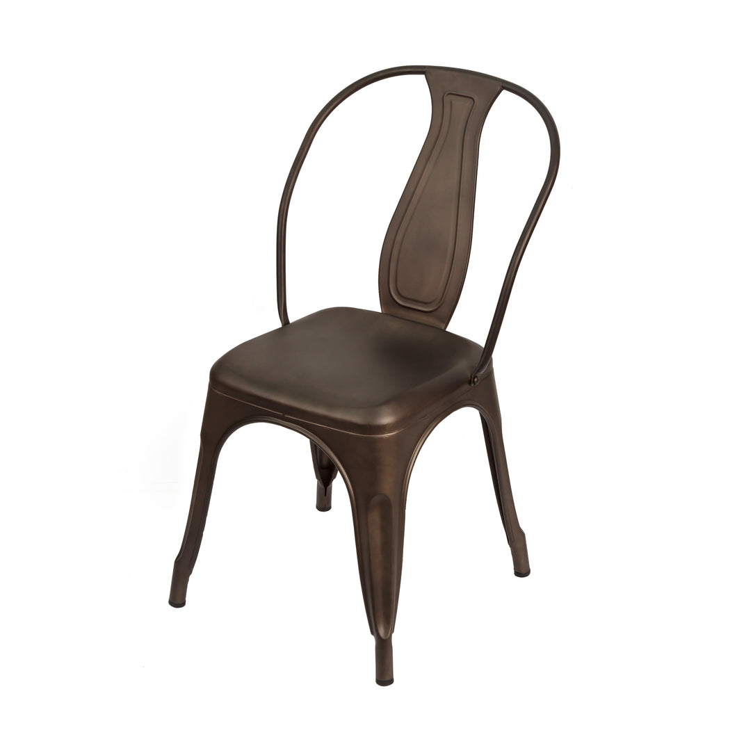 Classc metal dining chair with curved back panel and horseshoe shaped back. Front 3/4 view.