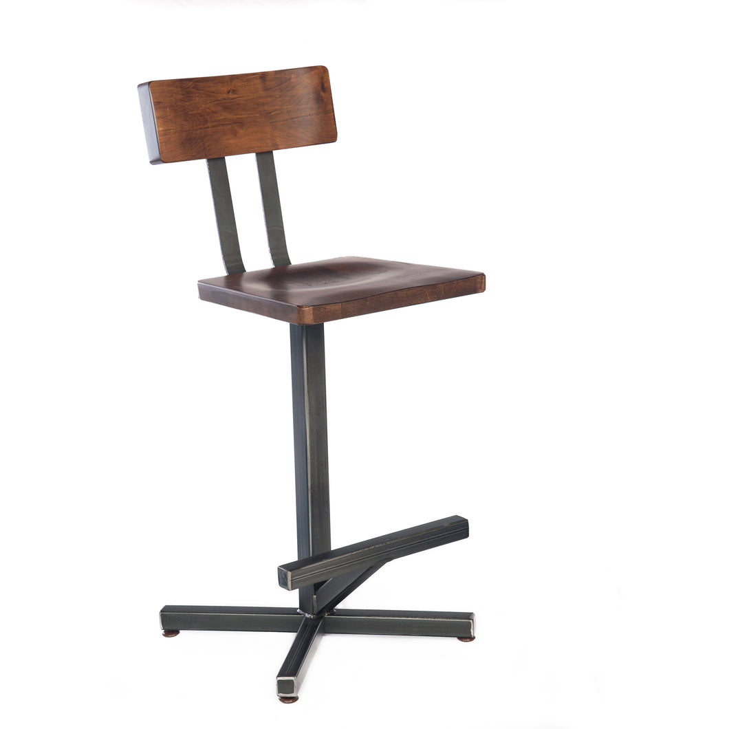Bar stool with stained Maple wood seat and back. Heavy welded steel frame and foot rest.