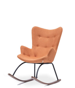 Orange wingback rocking armchair. 3/4 front view.
