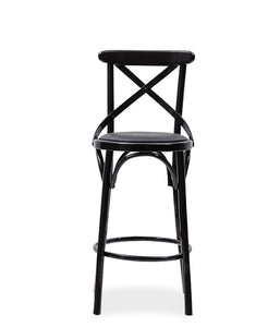 Cane look bar stool with cross-back detail and painted wood frame. Front view.