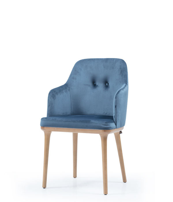Blue dining armchair with curved sides. Front 3/4 view.