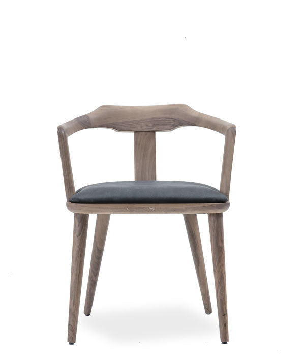 Grey stained wood armchair with fabric seat. Front view.