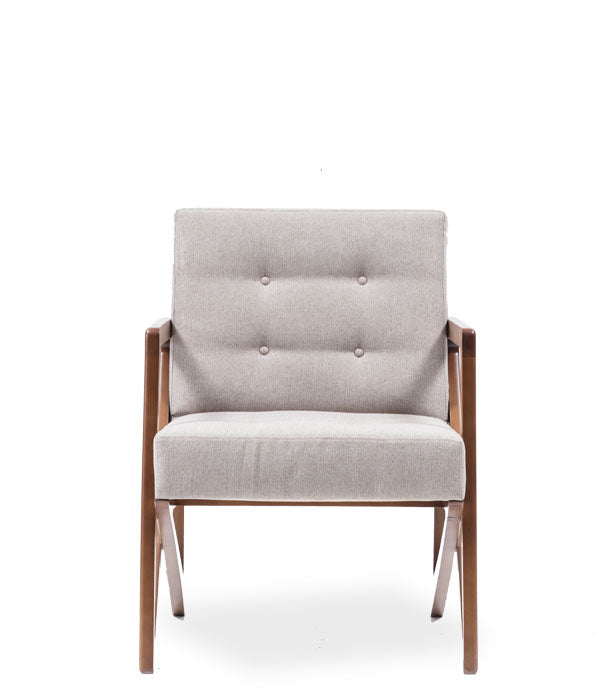 Modern square armchair. wood frame and arms with thick white cushions. Front view.