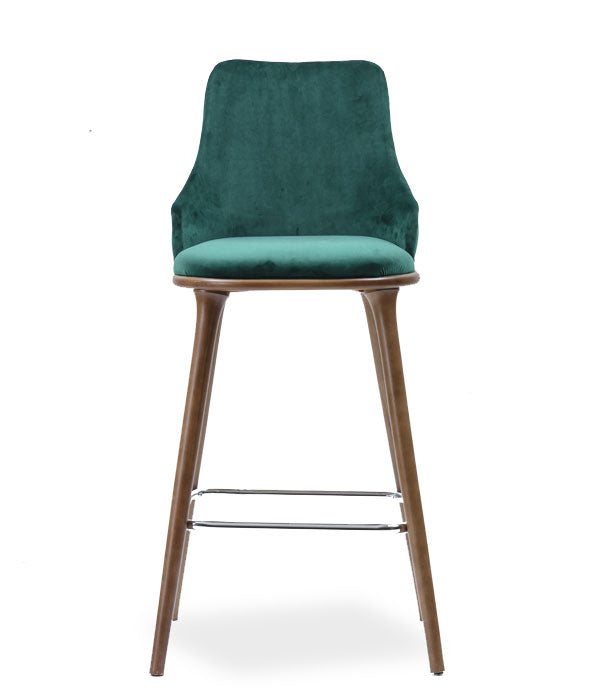 Fabic covered bar stool with a squared, fully tufted chair back. Front view.
