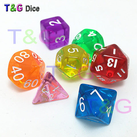 7pcs/Set TRPG Game Dungeons & Dragons Clear Polyhedral D4-D20 Multi Sided Acrylic Dice