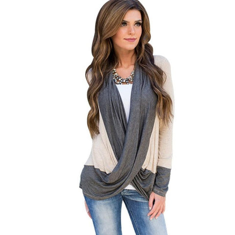 V Neck Irregular Splice Cotton Long Sleeve Shirt