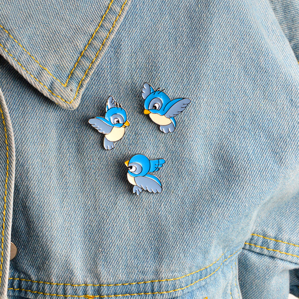 Blue Birds Pin Set