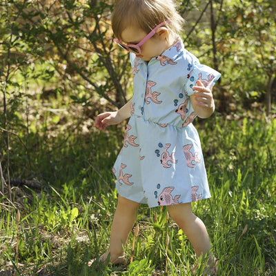 Hugo Loves Tiki Ruffle Romper Blue Fish