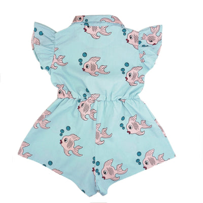 Hugo Loves Tiki Ruffle Romper Blue Fish Romper Hugo Loves Tiki