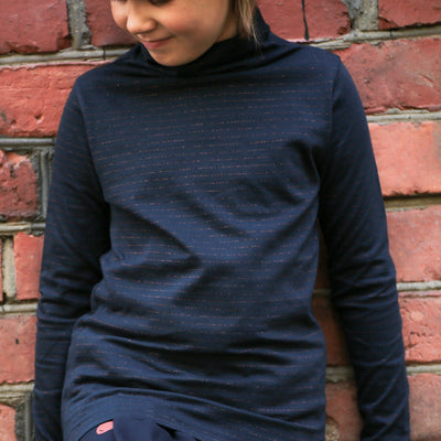 GRO Silky Navy Stripe Polo Neck Long Sleeved Shirts GRO