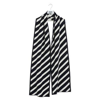 Papu Knit Oblong Scarf Puffy Stripe Women Papu