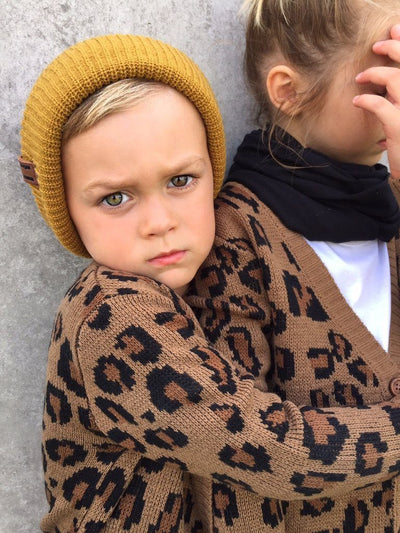 Beau Hudson Chunky Leopard Knit Cardigan for Kids