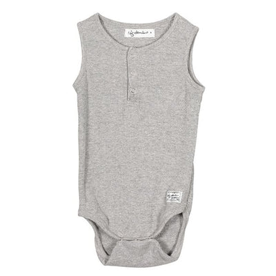 I Dig Denim Ly Singlet, Black + Grey Melange Romper I dig denim 56 grey melange