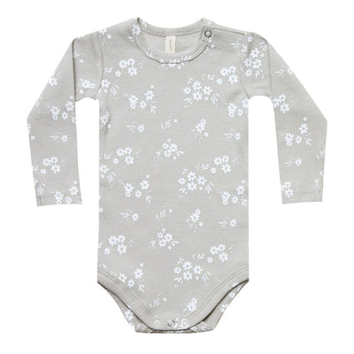 Quincy May Ribbed LS Onesie Copper + Ash Body Quincy Mae 0-3m ash