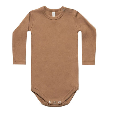 Quincy May Ribbed LS Onesie Copper + Ash Body Quincy Mae 0-3m copper