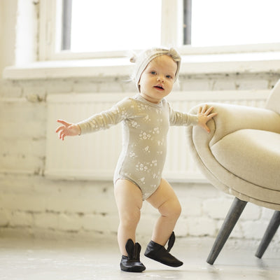 Quincy May Ribbed LS Onesie Copper + Ash Body Quincy Mae